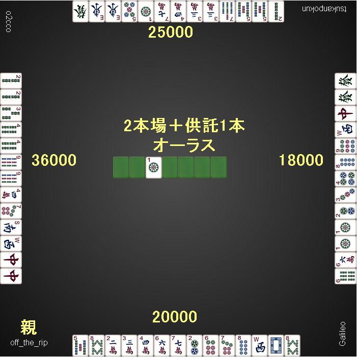 総取りトーナメント_2ゲーム目_オーラス配牌