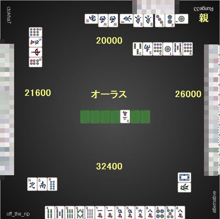 DORA麻雀_0608_100VIP_5ゲーム目_東3_4